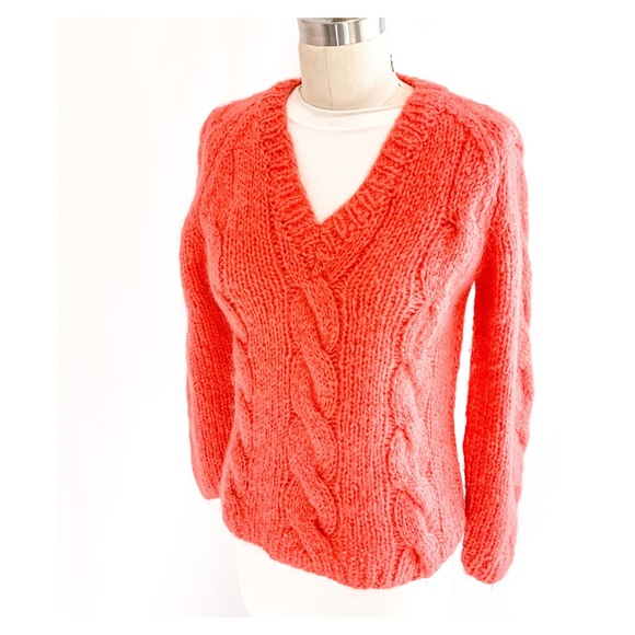 Cropped V Neck Cable Knit Pullover Sweater 60s Mohair Sweater